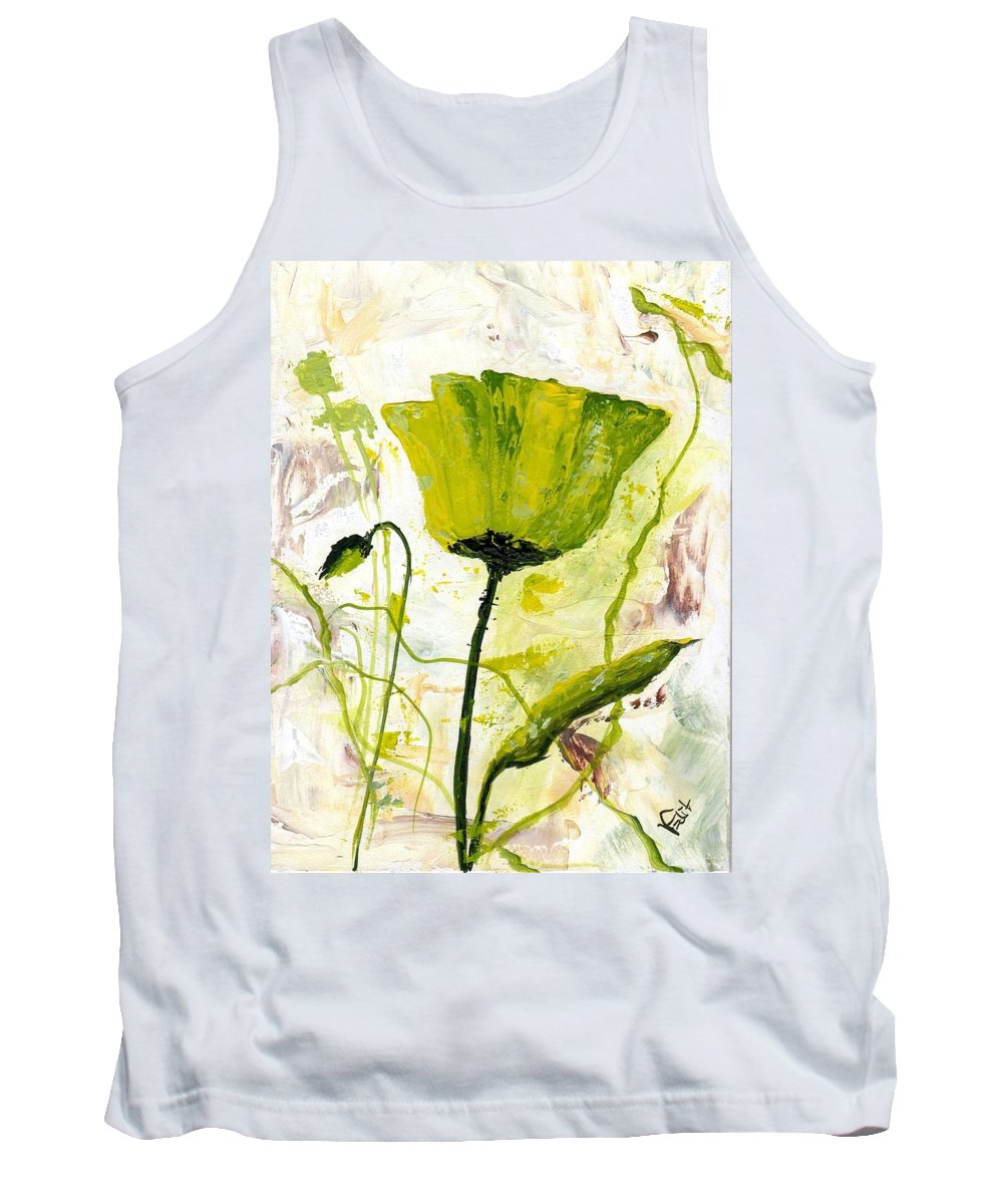 Art Tank Top featuring the painting Green Poppy 003 by Voros Edit