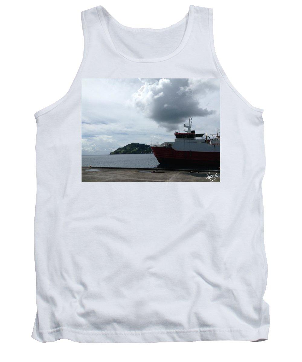 Sea Tank Top featuring the photograph Grenadines Wharf by Sean Roache
