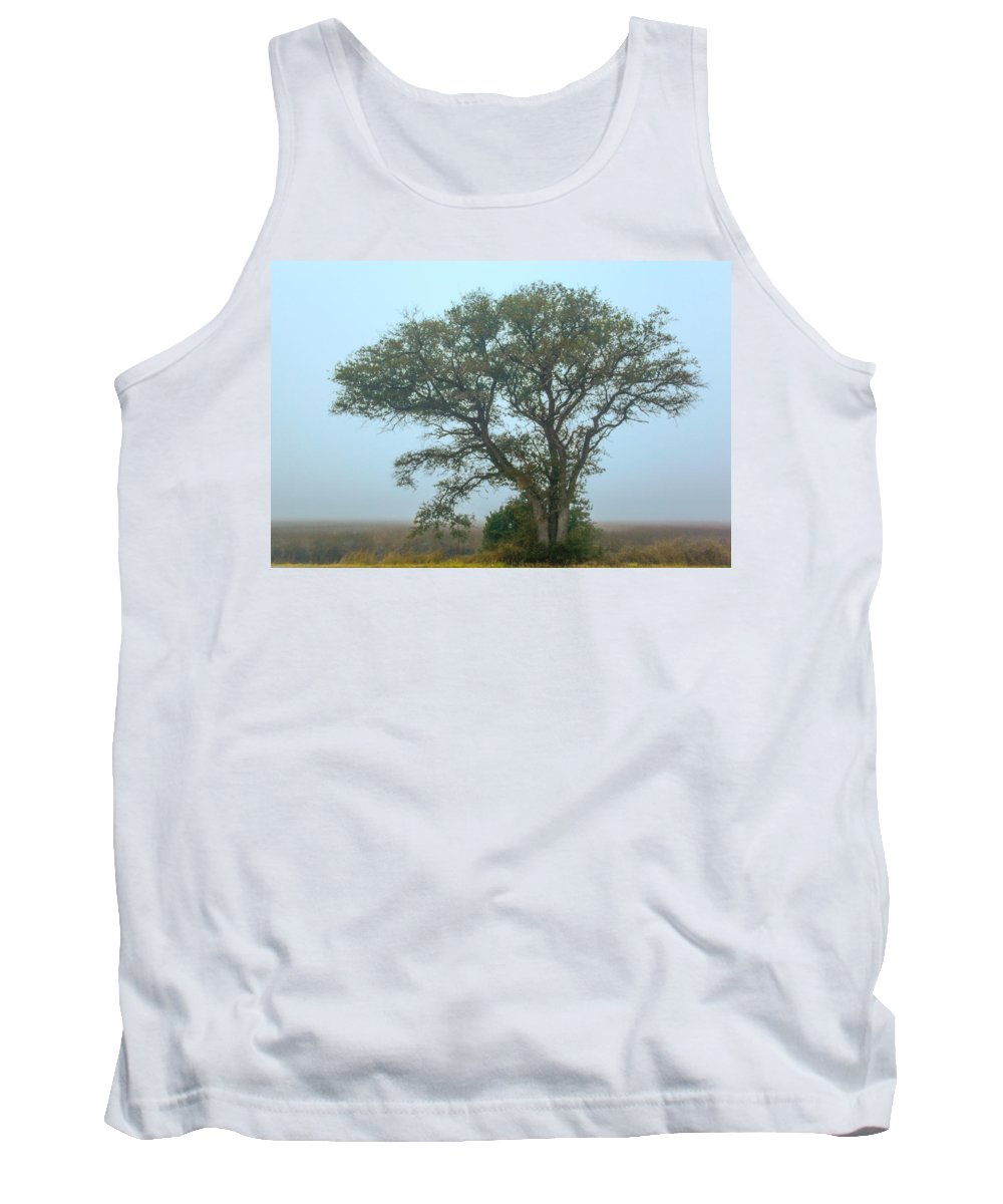 Cedar Island Tank Top featuring the photograph Guardian Of The Fog by Paula OMalley