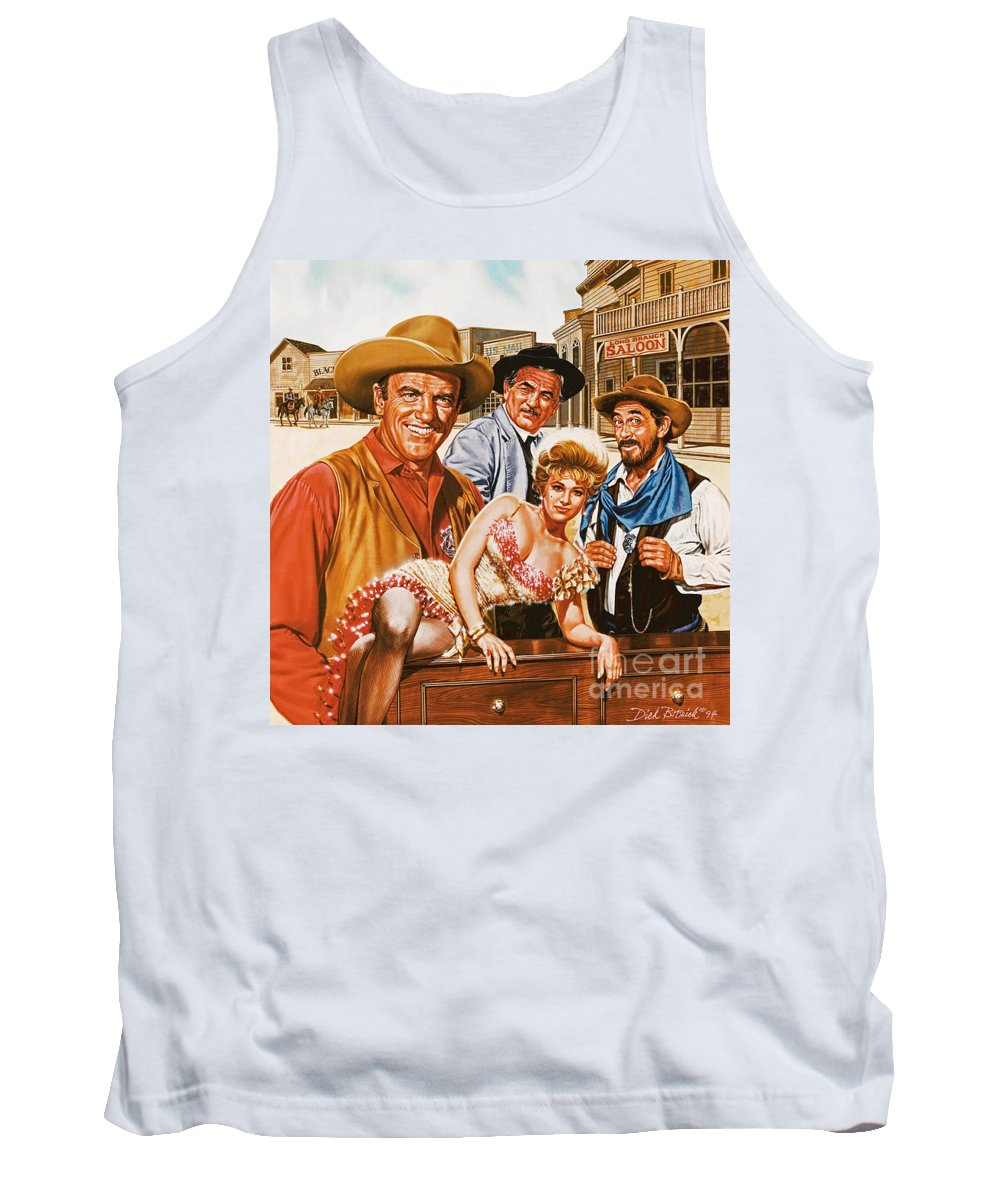 Portrait Tank Top featuring the painting Gunsmoke by Dick Bobnick