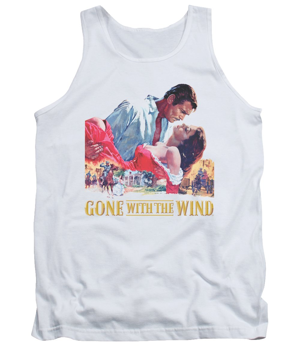 Gone With The Wind Tank Top featuring the digital art Gwtw - On Fire by Brand A
