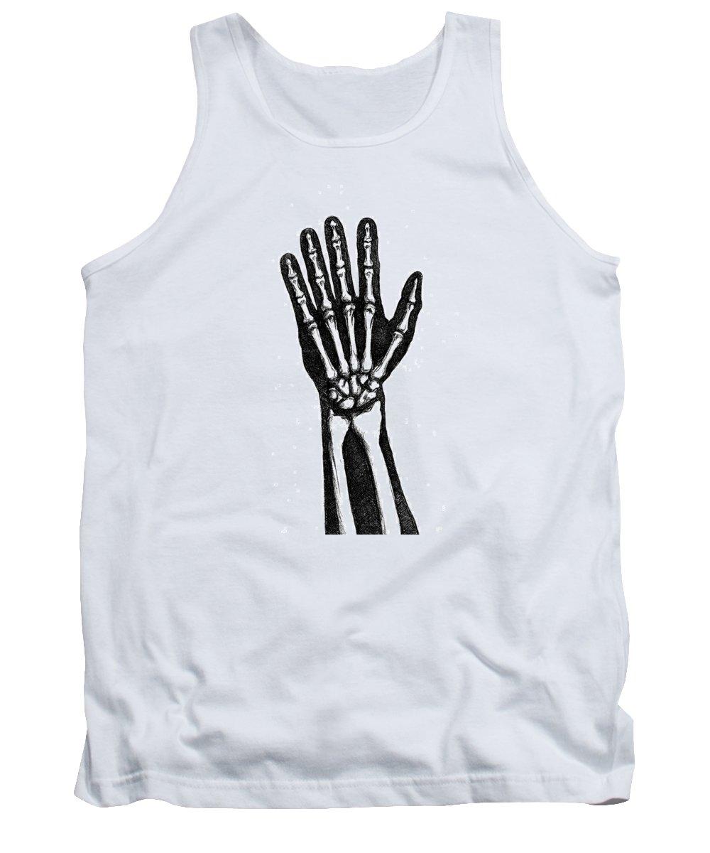 Handbones Tank Top featuring the drawing Hand Bones by Jeffrey Oleniacz