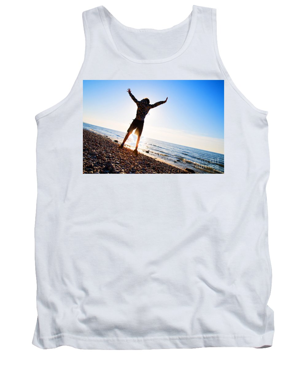 Beach Tank Top featuring the photograph Happiness In The Beach Scenery by Michal Bednarek