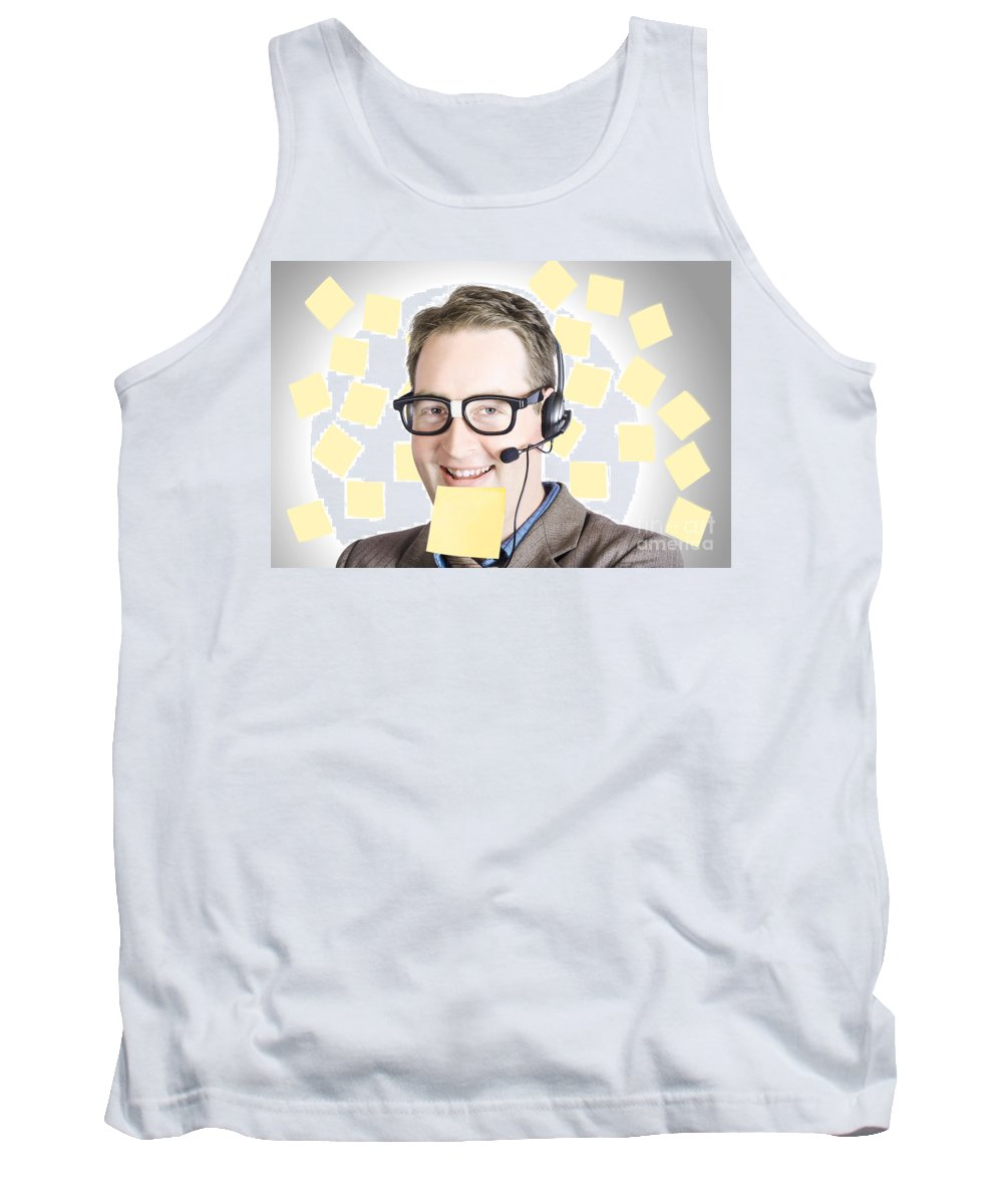 Funny Tank Top featuring the photograph Happy Business Man Wearing Helpdesk Headset by Jorgo Photography - Wall Art Gallery
