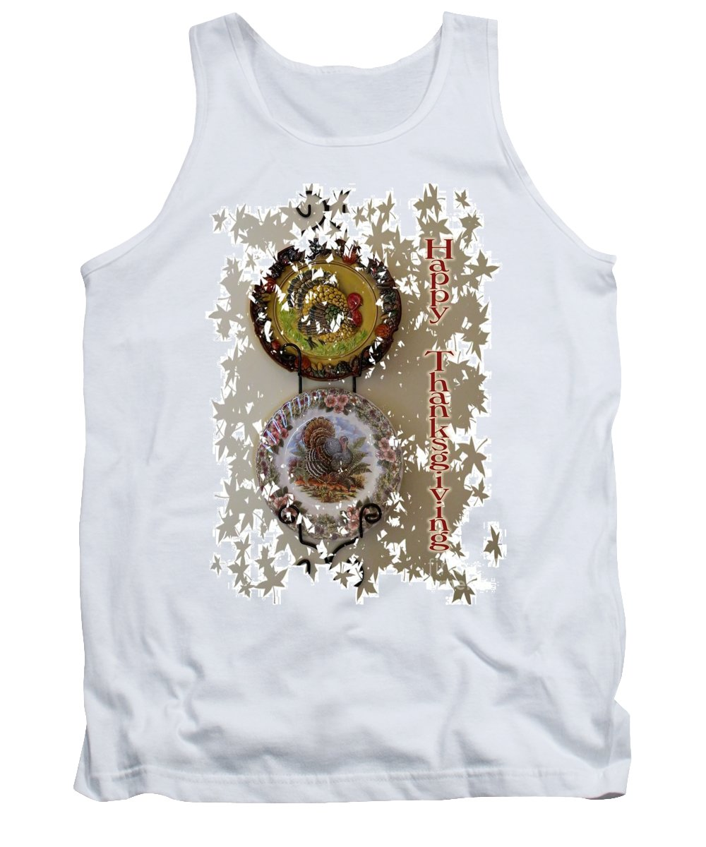 Thanksgiving Tank Top featuring the digital art Happy Thanksgiving by Nancy Patterson