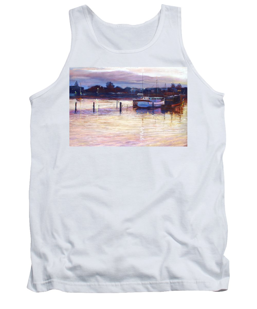 Lynda Robinson Tank Top featuring the pastel Harbour Lights - Apollo Bay by Lynda Robinson