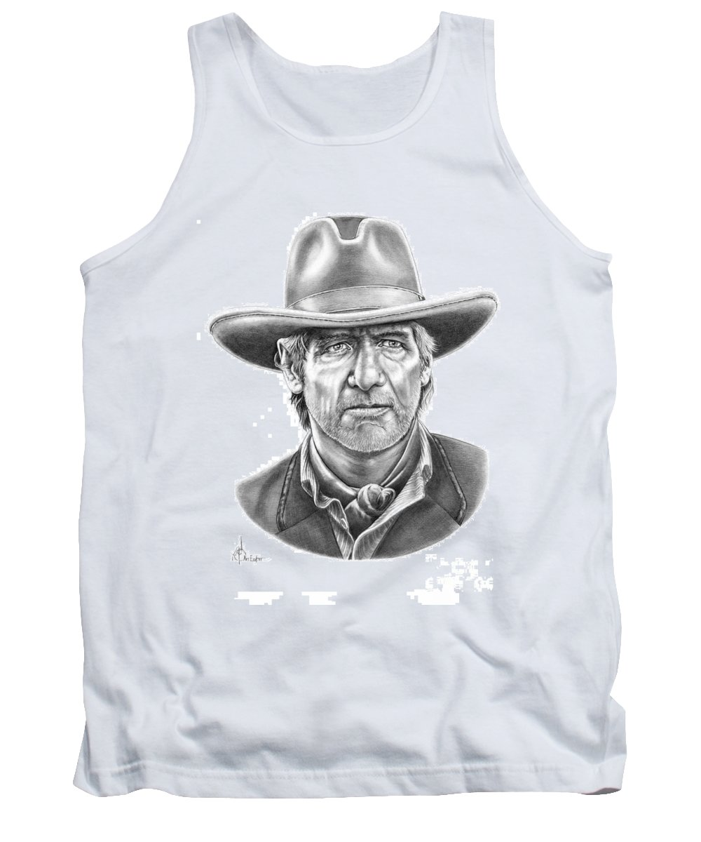 Pencil Tank Top featuring the drawing Harrison Ford by Murphy Elliott