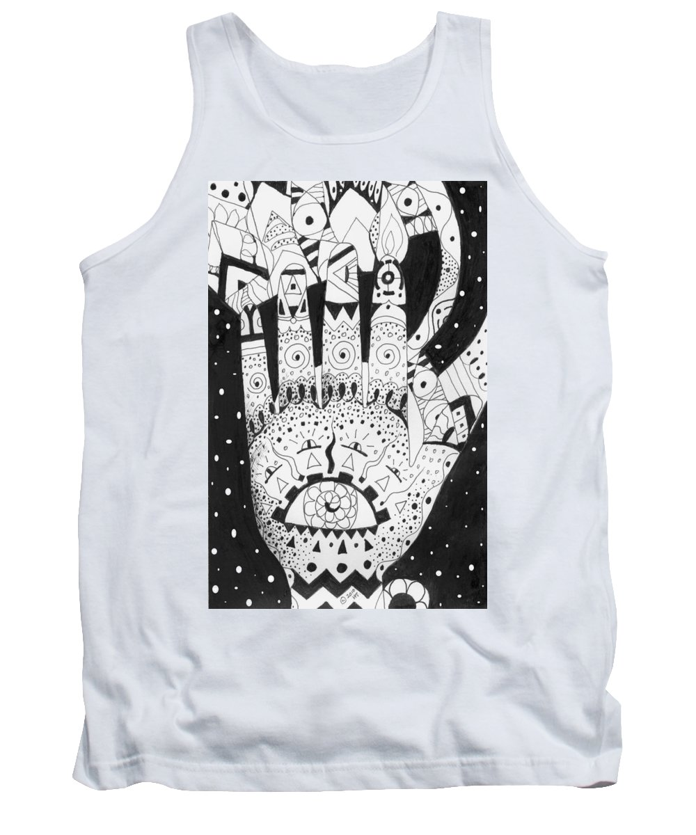 Hand Tank Top featuring the drawing Healing Patterns I by Helena Tiainen