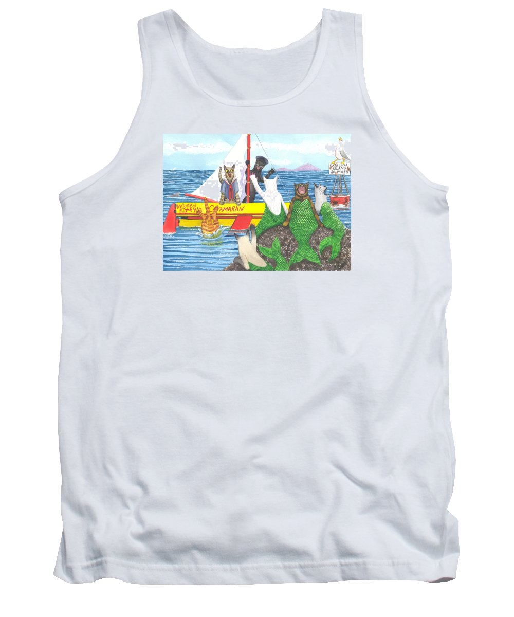 Cat Tank Top featuring the painting Hello Mer Kitties by Catherine G McElroy