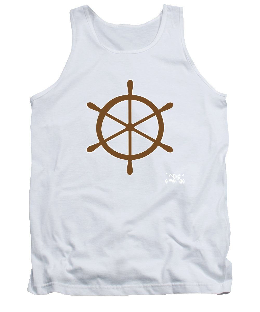 Graphic Art Tank Top featuring the digital art Helm In Brown And White by Jackie Farnsworth