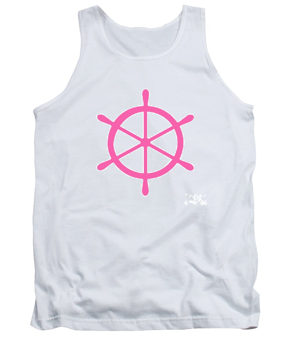 Graphic Art Tank Top featuring the digital art Helm In Pink And White by Jackie Farnsworth