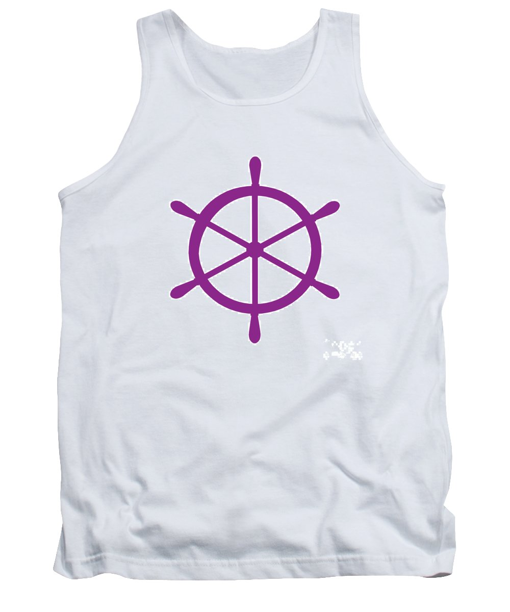 Graphic Art Tank Top featuring the digital art Helm In Purple And White by Jackie Farnsworth