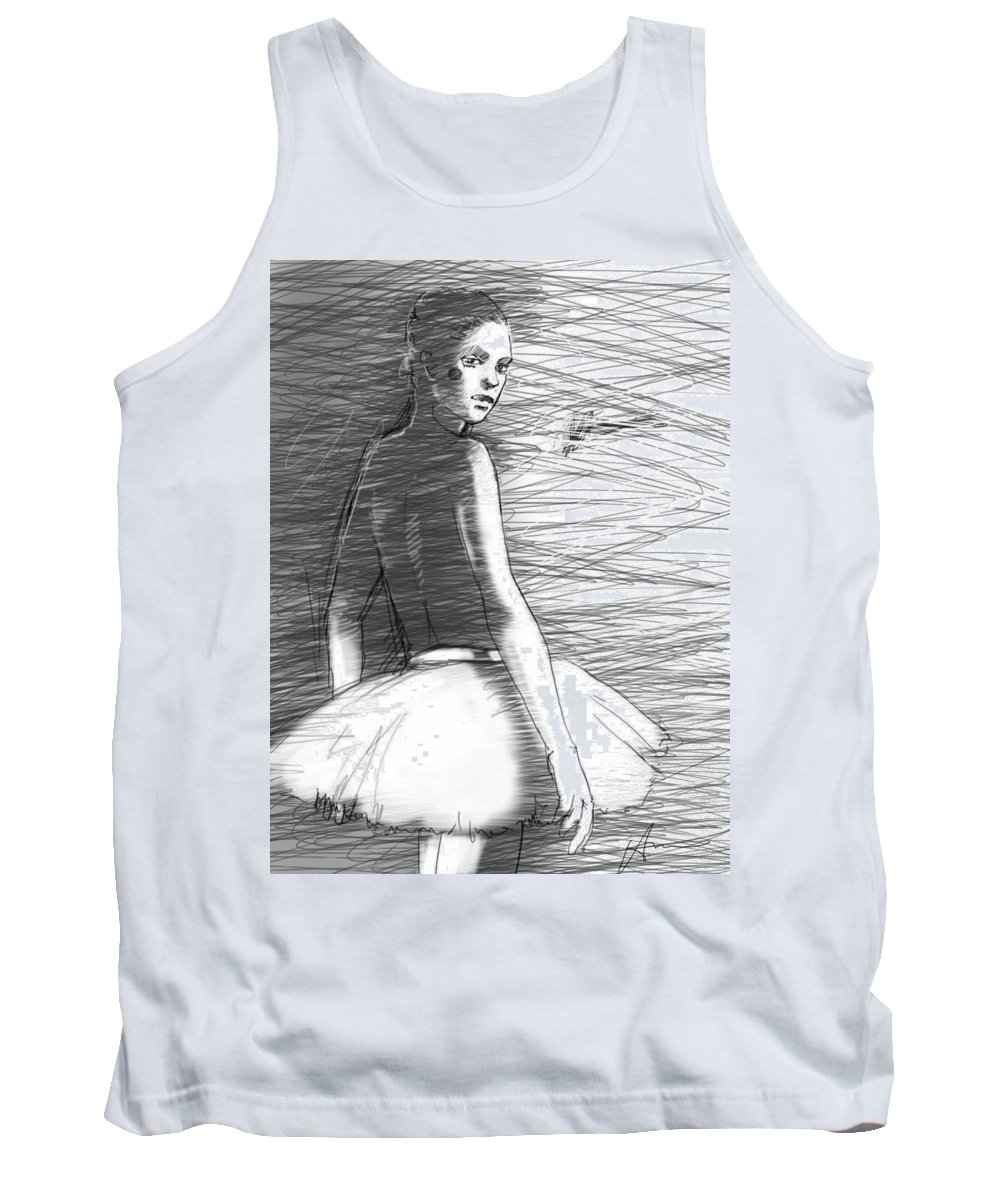 Ballet Tank Top featuring the drawing Her by H James Hoff