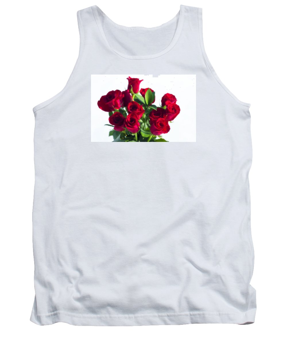 Dozen Roses Tank Top featuring the photograph High Key Red Roses by Shelly Gunderson