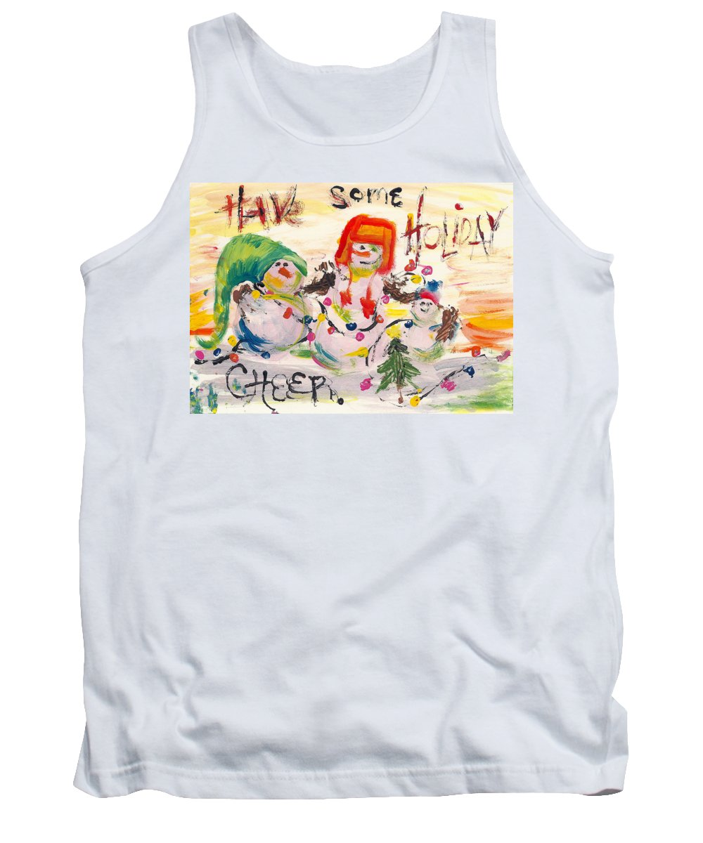Snowman Tank Top featuring the painting Holiday Cheer by Molly Picklesimer