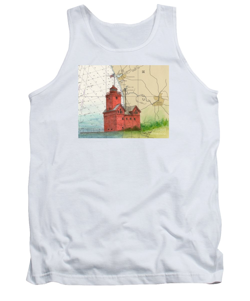 Holland Tank Top featuring the painting Holland Harbor Lighthouse Mi Nautical Chart Map Art by Cathy Peek