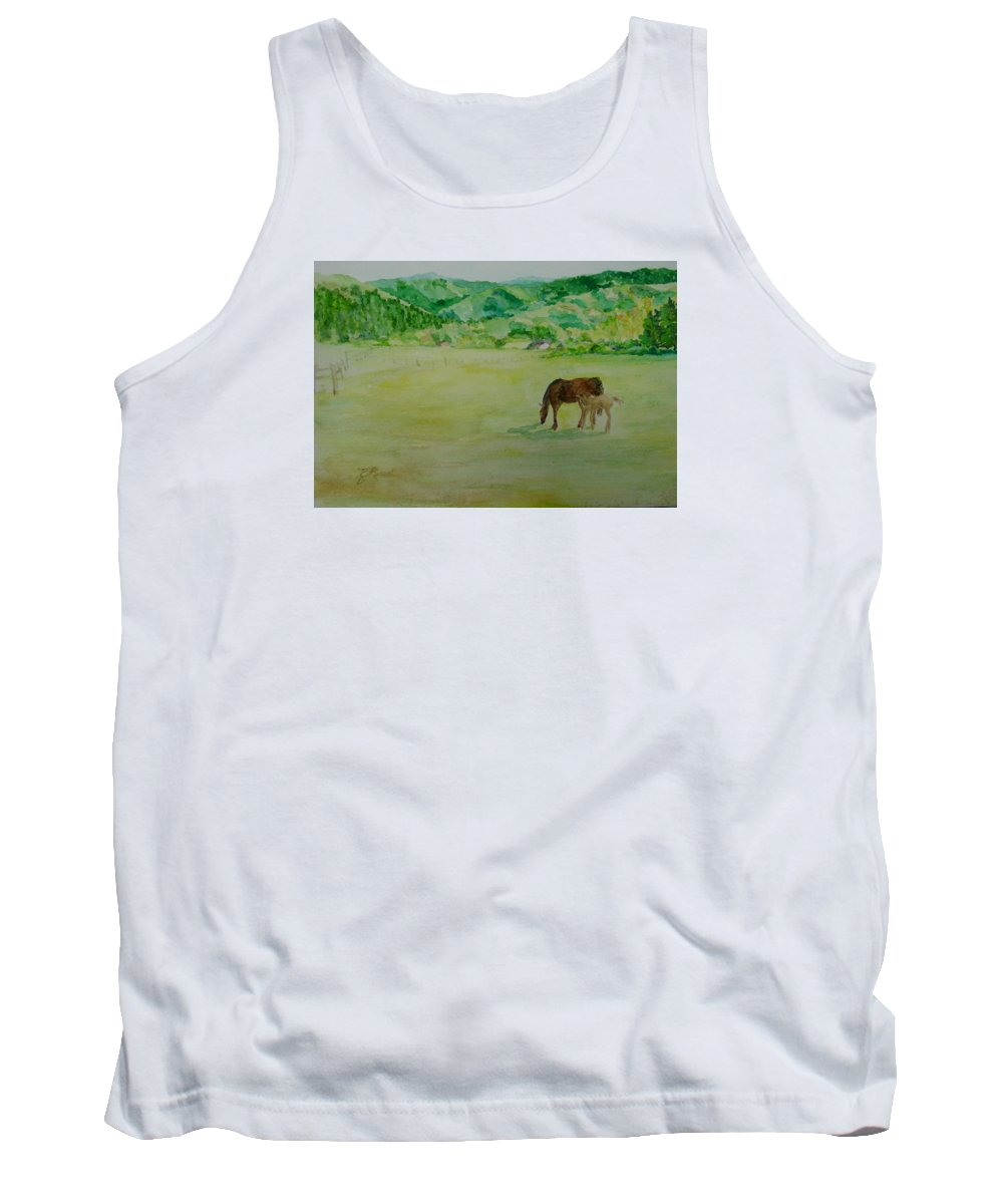 Rural Landscape Painting Tank Top featuring the painting Horses Mare Foal Pastures Rural Landscape Original Art Oregon Western Artist K. Joann Russell by K Joann Russell