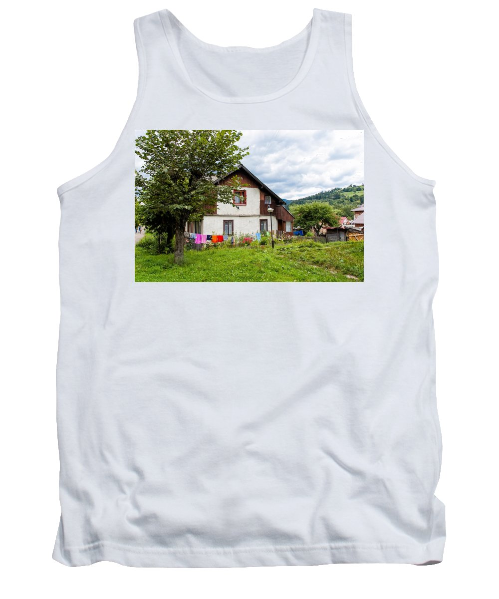 Ukraine Tank Top featuring the photograph House In The Capathians Village by Alain De Maximy
