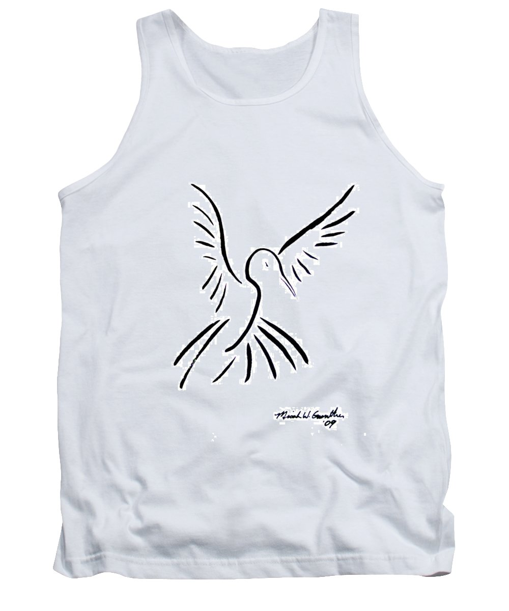 Bird Tank Top featuring the drawing Hummingbird by Micah Guenther