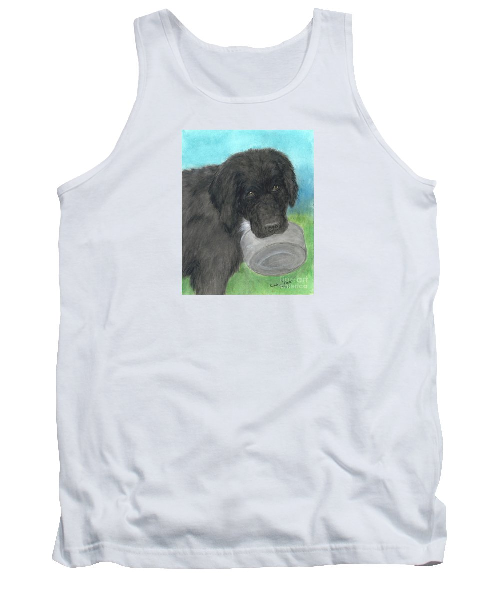 Black Tank Top featuring the painting Hungry Newfoundland Dog Canine Animal Pets Art by Cathy Peek