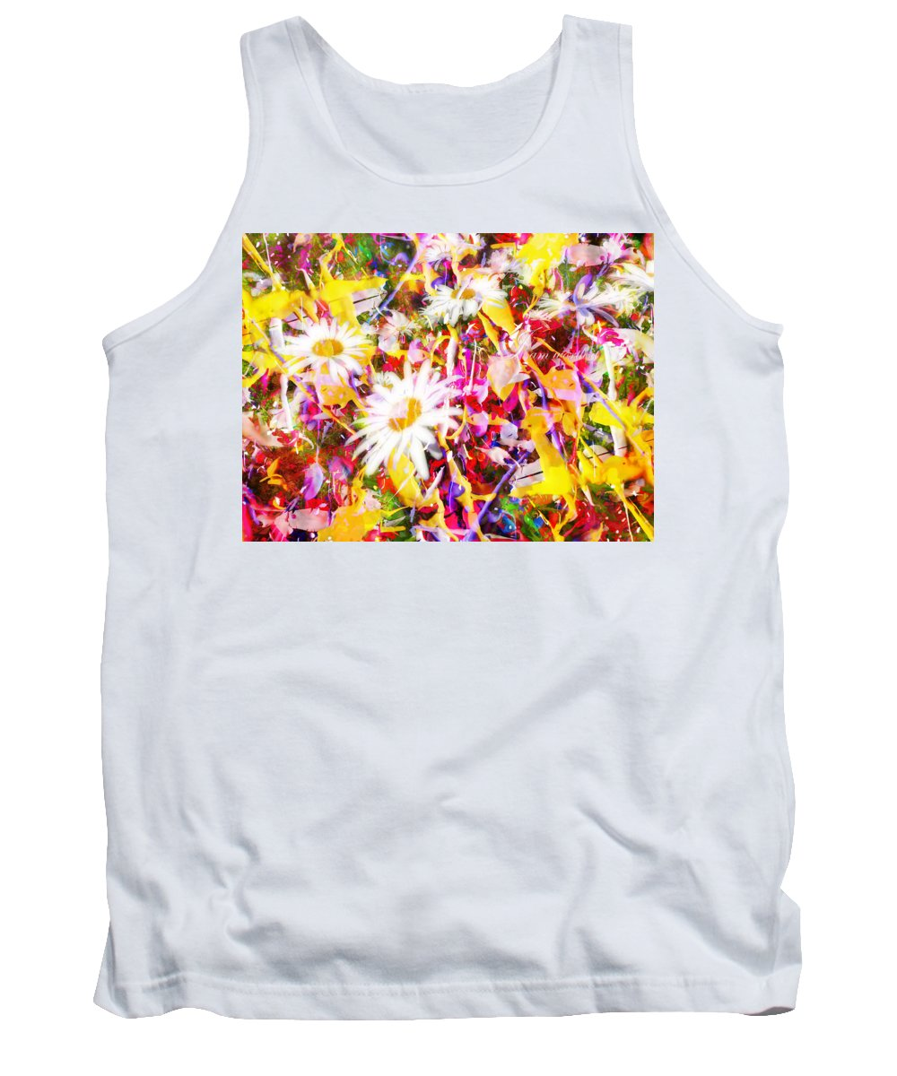 Floral Tank Top featuring the digital art I Am Worth It IIi by Tina Baxter