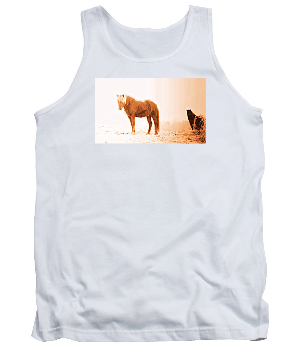 Horse Tank Top featuring the photograph I Came Out Of Nothing To Meet You Here In Nomansland by Hilde Widerberg
