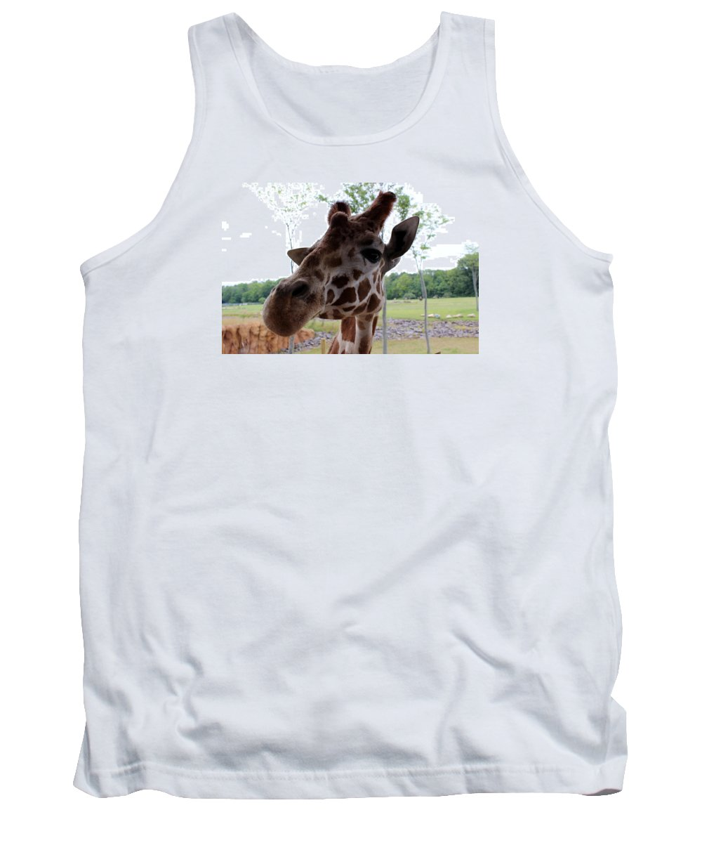 Giraffe Tank Top featuring the photograph What's That You Say? by Valerie Jean Schafer