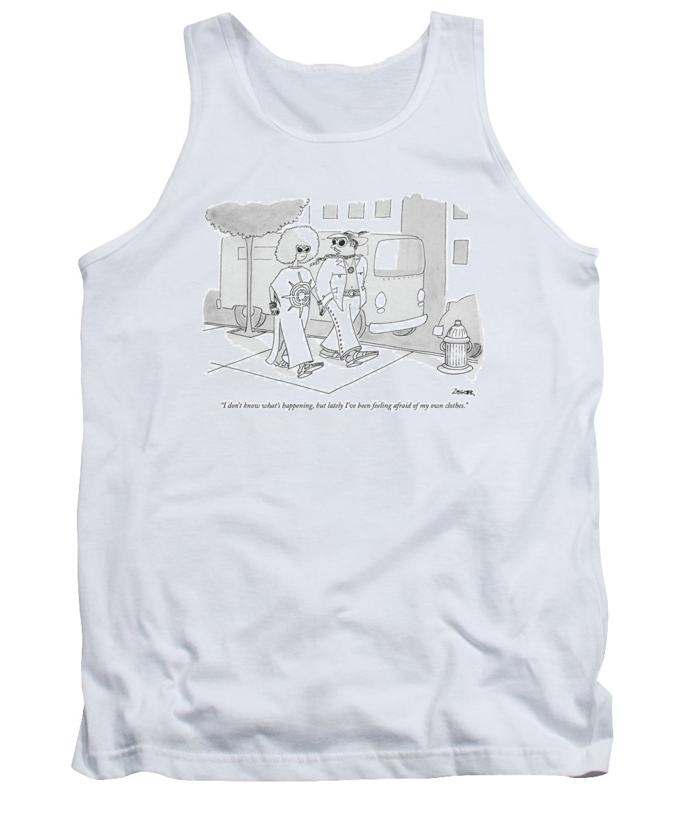 (outlandishly Dressed Man Talking To Equally Wild-dressed Woman.) Fashion Men Women Hippies Artkey 44609 Tank Top featuring the drawing I Don't Know What's Happening by Jack Ziegler