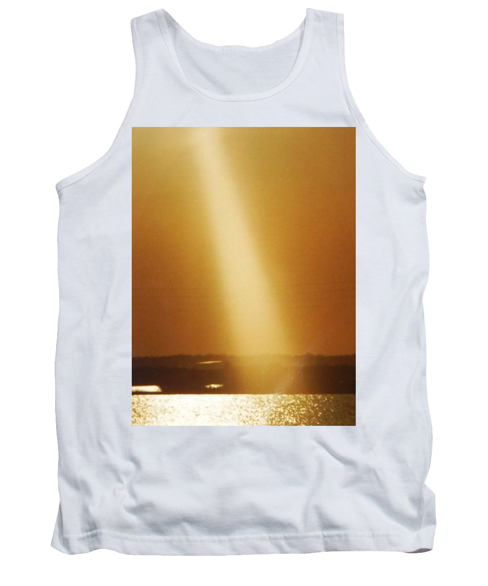 Wow! I Happened To Be At The Right Time Moment With Camera. I Was Visiting This Childhood Spot After 18 Years Of Being Gone And This Golden Sunbeam Moment Became Mine Thank You For The Awesome Shot God Tank Top featuring the photograph Golden Sunbeam Of Gods Love Today by Belinda Lee