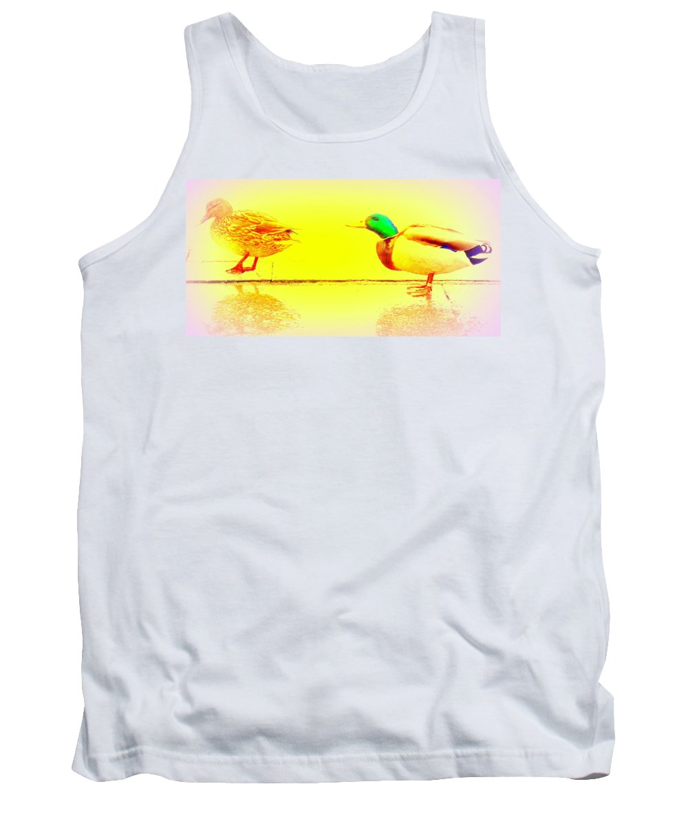 Duck Tank Top featuring the photograph I Try To Follow You But Do You Care by Hilde Widerberg