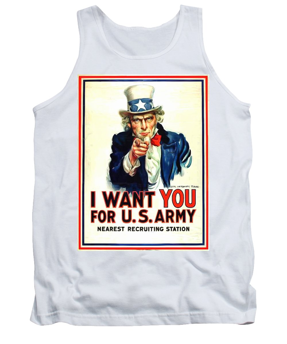Us Army Ww I Recruiting Poster Tank Top featuring the painting I Want You For U S Army by US Army WW I Recruiting Poster
