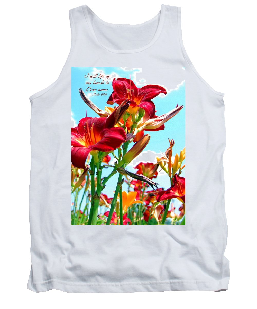 Flowers Tank Top featuring the photograph I Will Lift My Hands by Kim Blaylock