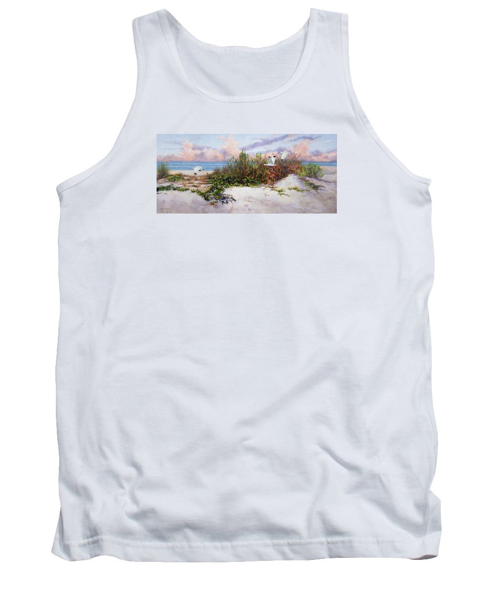 Ibis Tank Top featuring the painting Ibis Sunset by Carol McArdle