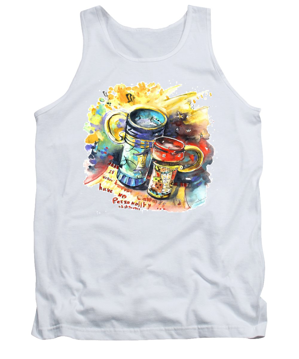 Cafe Crem Tank Top featuring the painting If It Were Not For Caffeine by Miki De Goodaboom