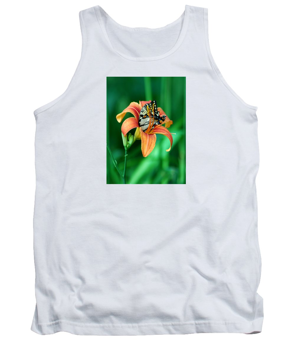 Butterfly Tank Top featuring the photograph Immersed by Linda Murphy