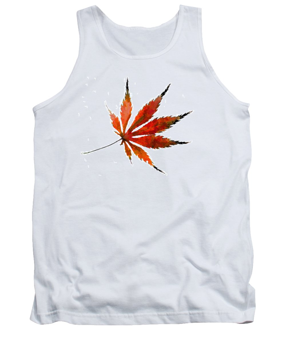 Japanese Tank Top featuring the photograph Impressionist Japanese Maple Leaf by Kathy Clark