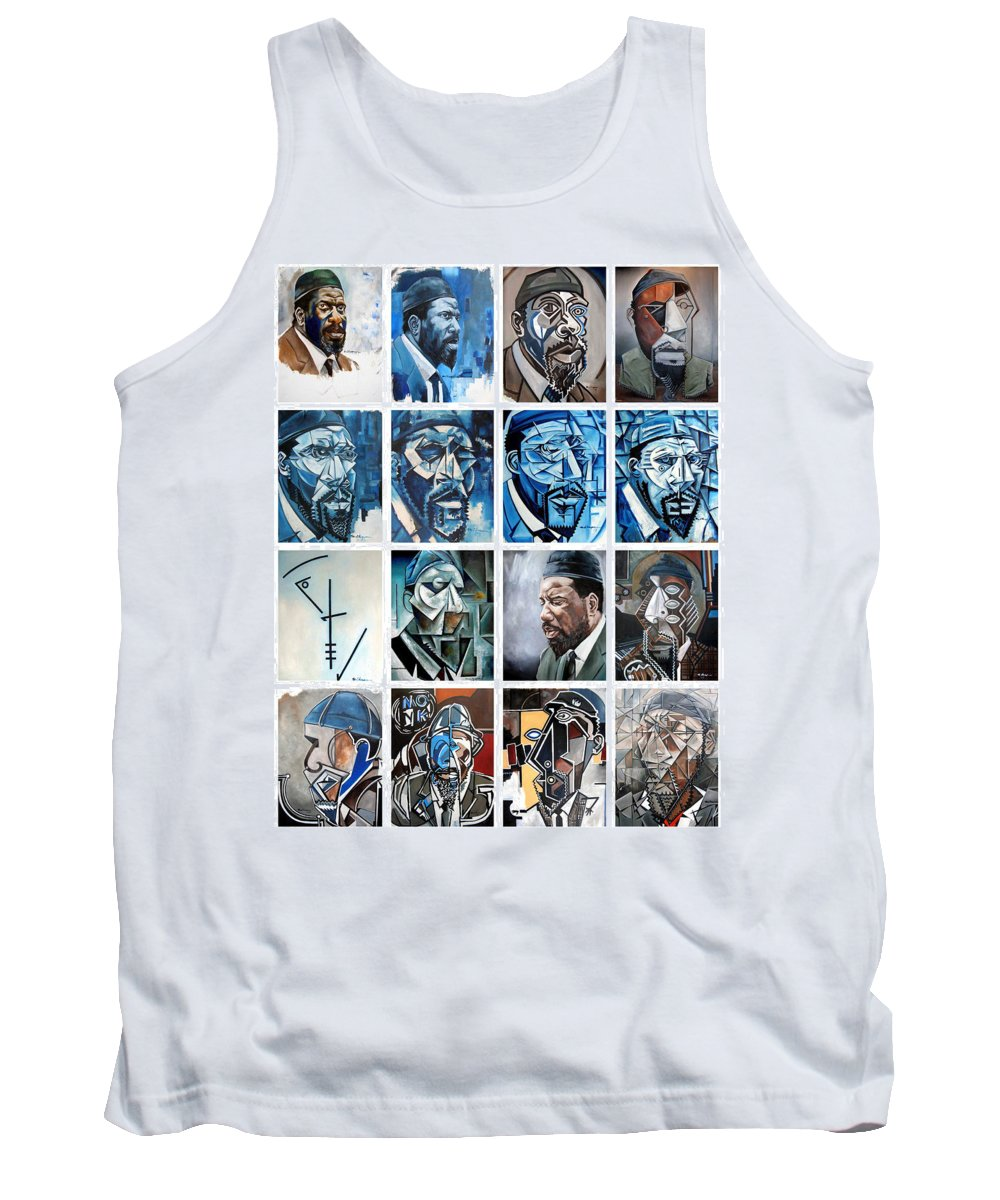 Jazz Piano Thelonious Monk Portrait Cubism Abstract Tank Top featuring the painting Improvised Metamorphoses by Martel Chapman