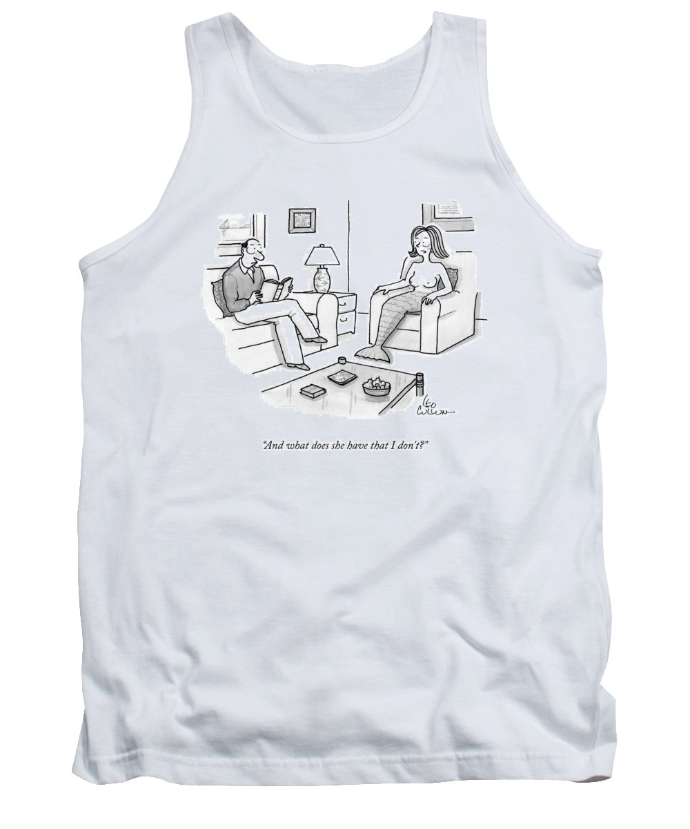 Couples Tank Top featuring the drawing In A Living Room by Leo Cullum