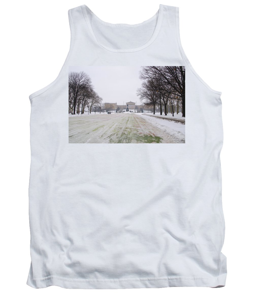 Front Tank Top featuring the photograph In Front Of The Philadelphia Art Museum by Bill Cannon