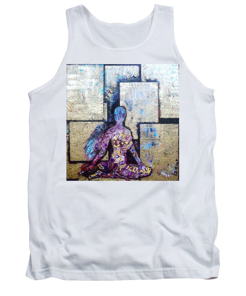 Abstract Tank Top featuring the painting In My Present Reality by Lorena Fernandez