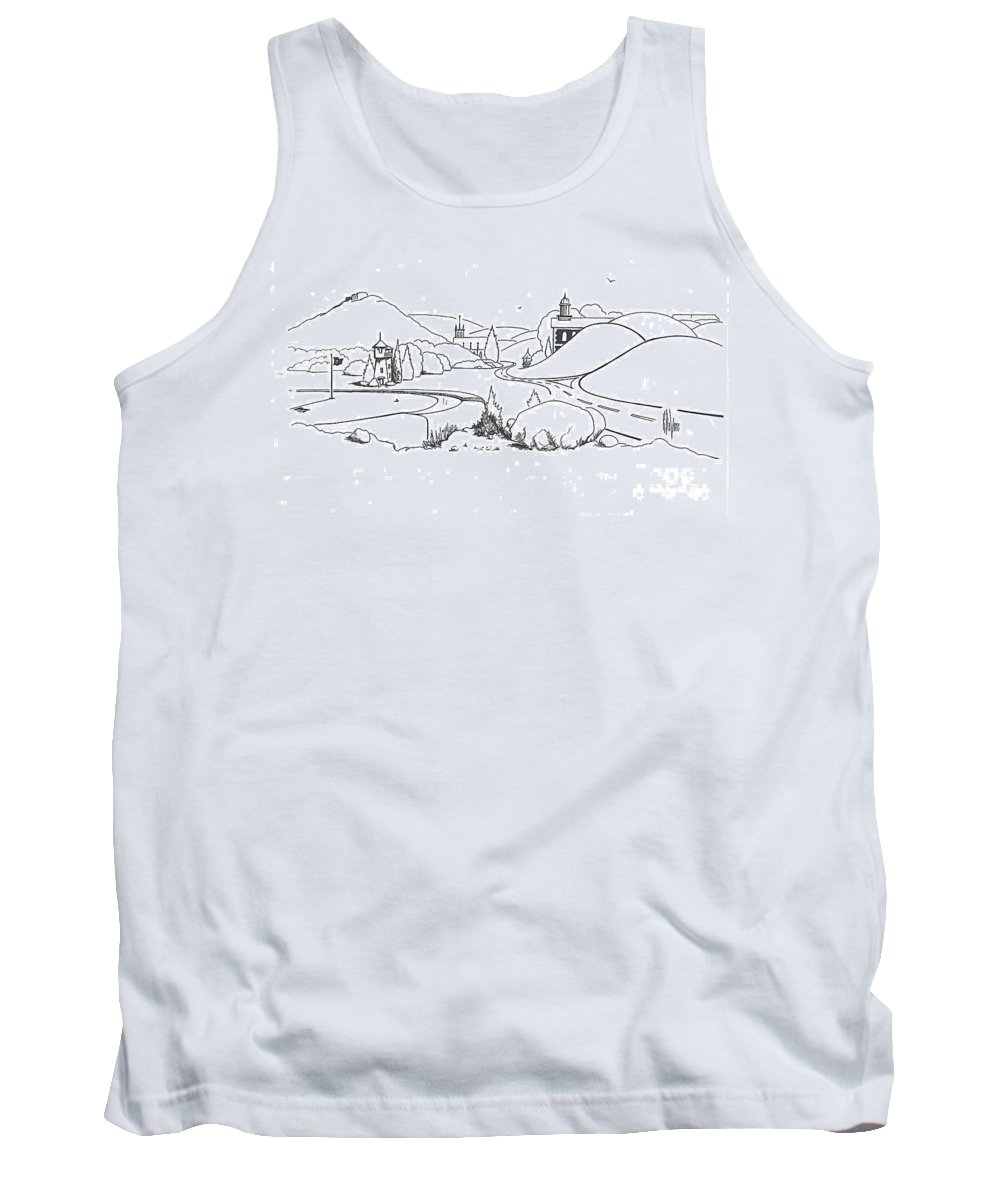 In The Land Of Brigadoon Tank Top featuring the drawing In The Land Of Brigadoon by Kip DeVore