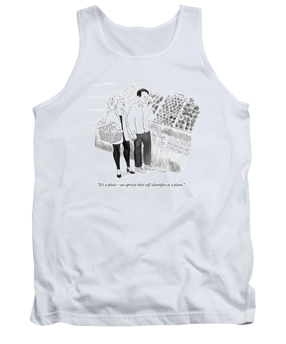 Identifying Tank Top featuring the drawing In The Produce Section Of A Grocery Store by Emily Flake