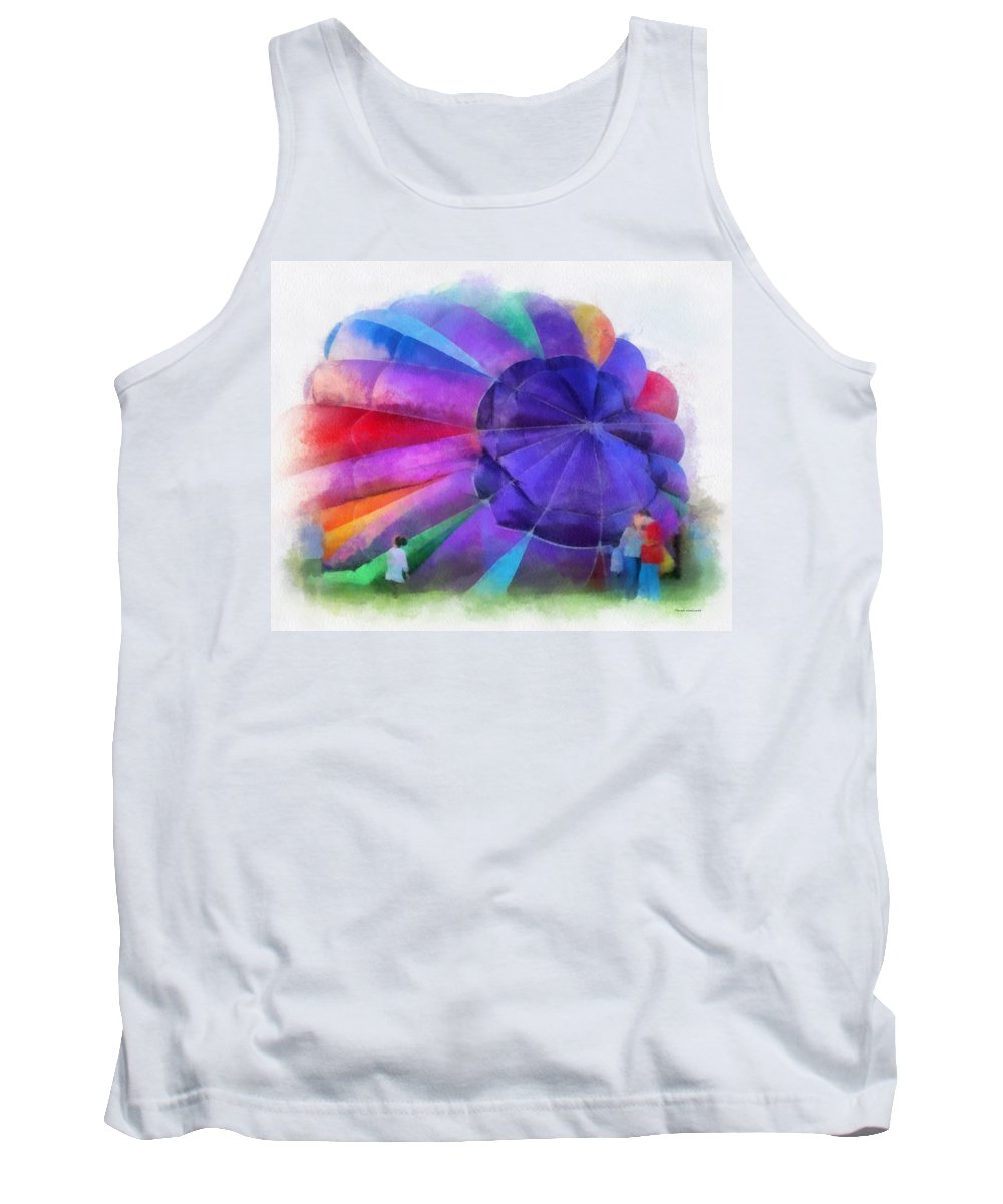 Hot Tank Top featuring the photograph Inflating The Rainbow Hot Air Balloon Photo Art by Thomas Woolworth