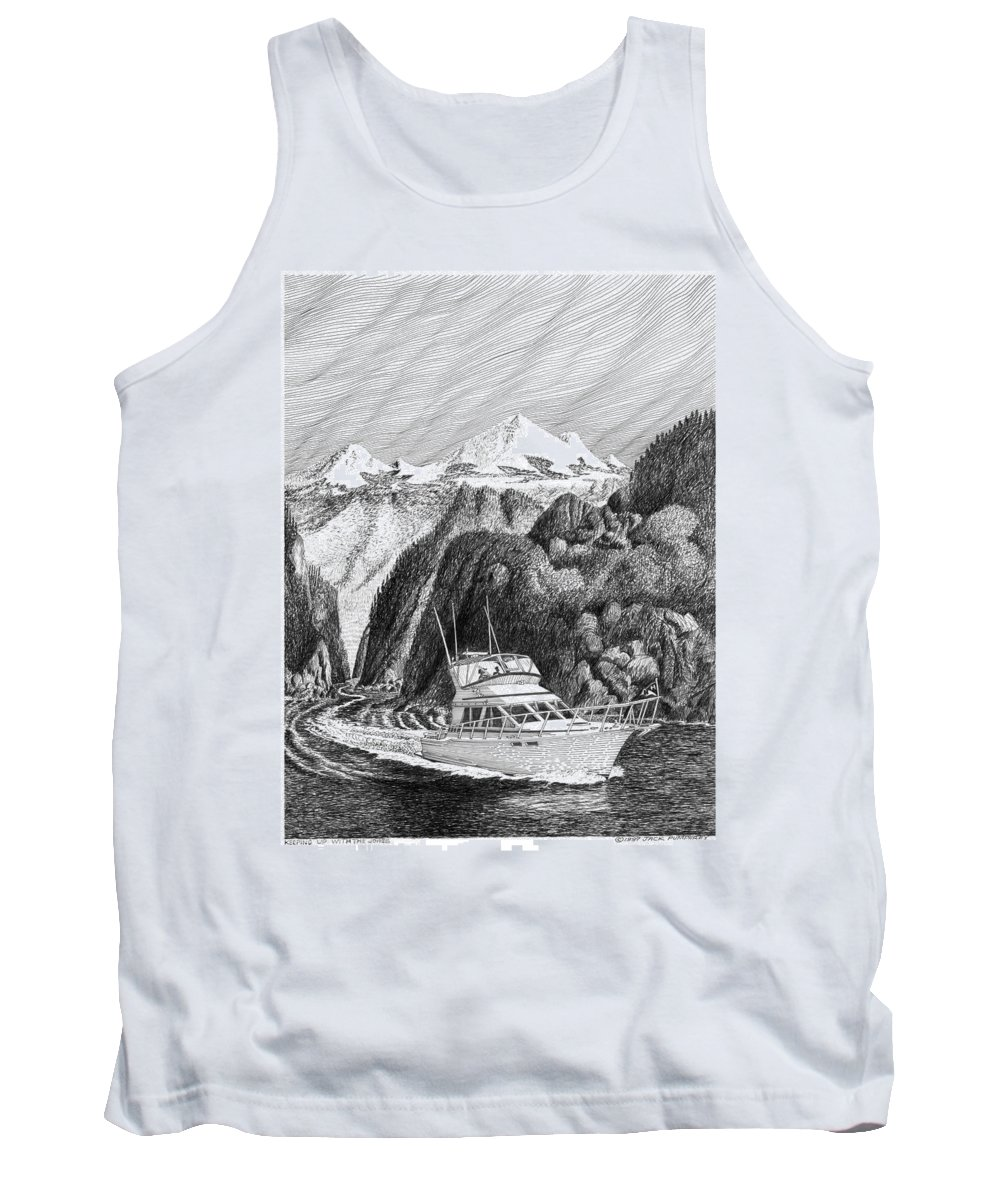 Yachting Tank Top featuring the drawing Cruising The Inside Passage by Jack Pumphrey