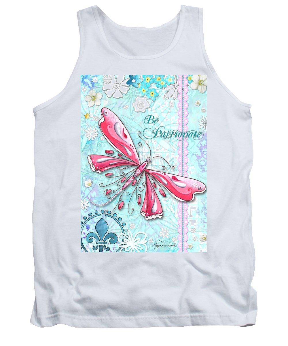 Dragonfly Tank Top featuring the painting Inspirational Dragonfly Floral Art Inspiring Art Quote Be Passionate By Megan Duncanson by Megan Duncanson