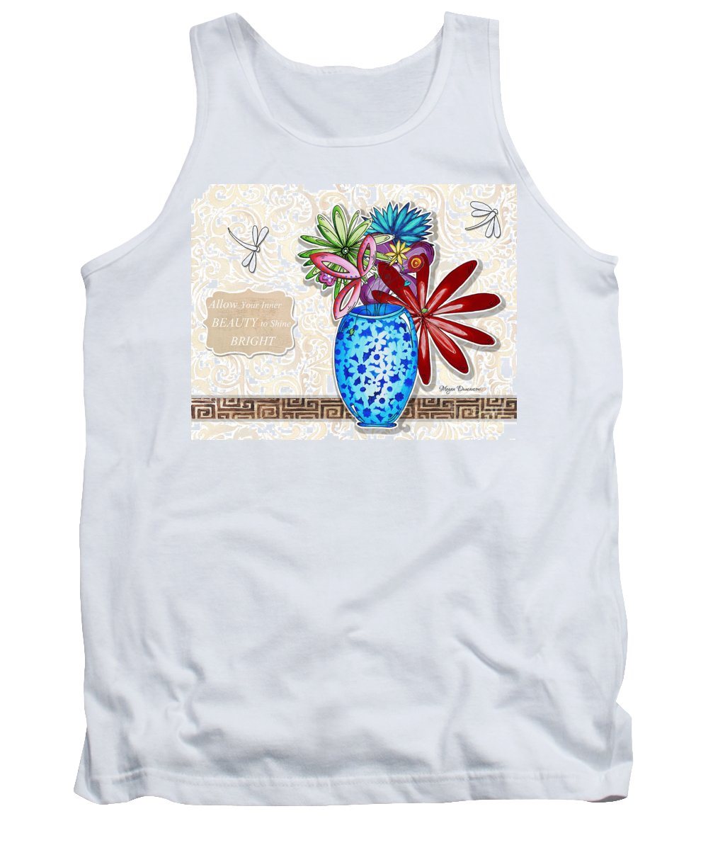 Dragonfly Tank Top featuring the painting Inspirational Floral Dragonfly Painting Flower Vase With Quote By Megan Duncanson by Megan Duncanson