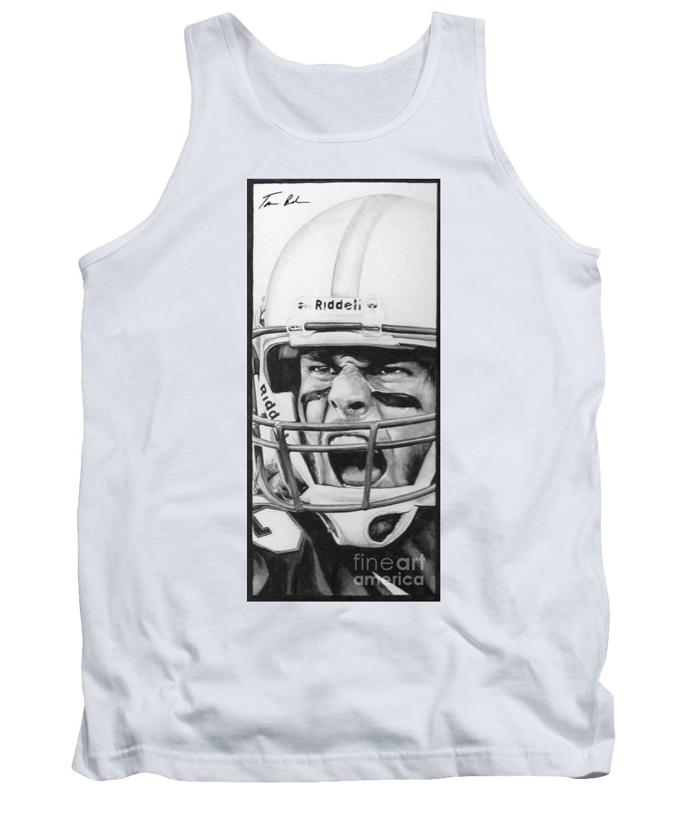 Football Tank Top featuring the painting Intensity Tom Brady by Tamir Barkan