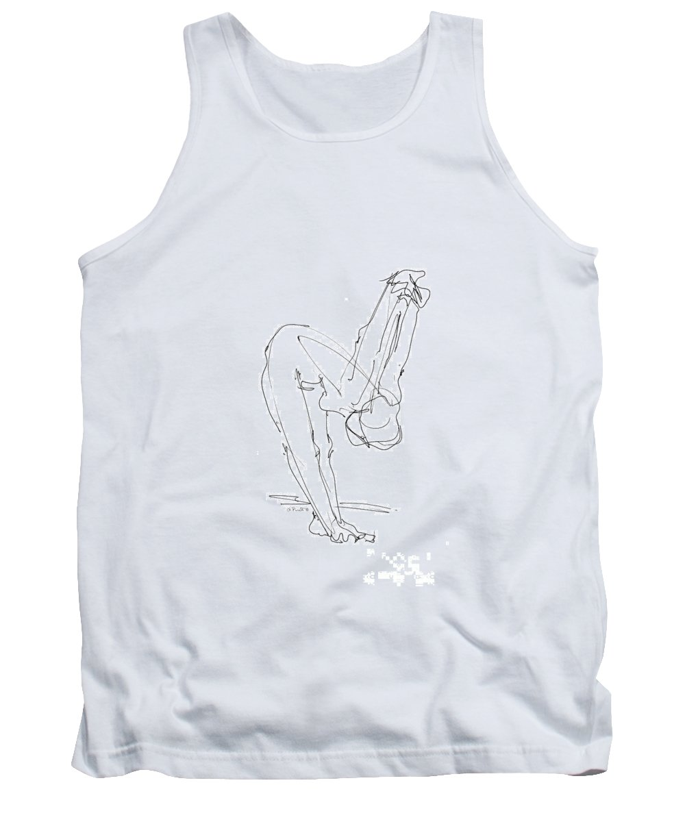 Iphone Tank Top featuring the drawing iPhone-Case-Female-Nude-6 by Gordon Punt