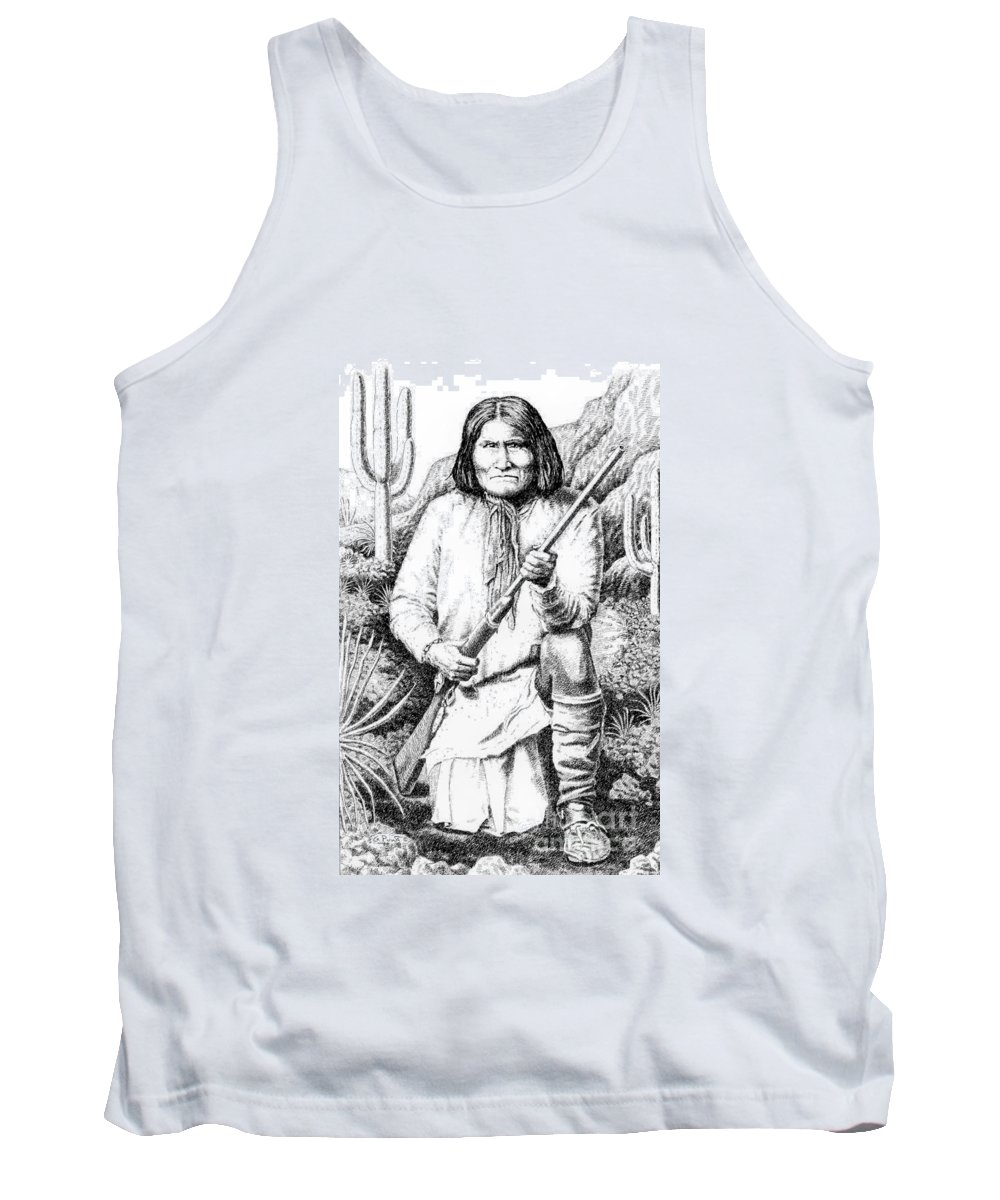 Chief Tank Top featuring the drawing iPhone-Case-Geronimo by Gordon Punt
