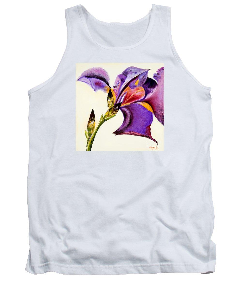 Iris Tank Top featuring the painting Iris by Olga Alexeeva